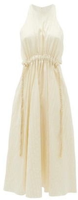 Ssone - Drawstring-waist Striped-satin Dress - Cream