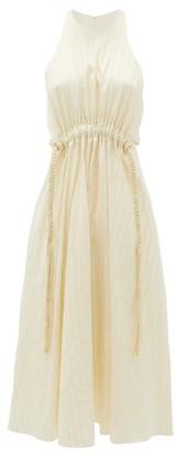 Ssōne Ssone - Drawstring-waist Striped-satin Dress - Cream