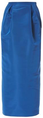 Carolina Herrera Front Pleat Silk Midi Pencil Skirt