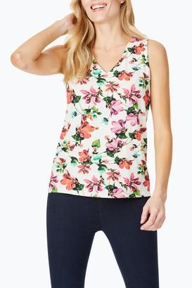Foxcroft Delphine Hibiscus Floral Button Back Slub Tank Top