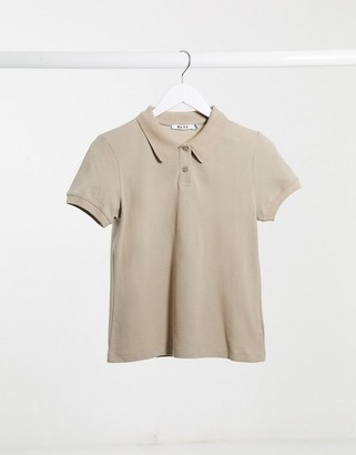 NA-KD polo neck T-shirt in beige
