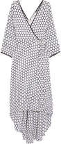 Diane von Furstenberg Asymmetric Polka-dot Silk Midi Wrap Dress - White