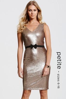 Paper Dolls Gold Sequin Bow Waist Dress