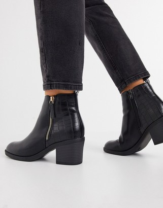 Schuh Amy mid-heeled ankle boot with zip in black