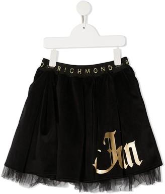 John Richmond Junior Logo Print Tulle Skirt