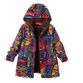 HOOUDO Womens Winter Warm Coats Fashion Casual Outwear Floral Print Hooded Pockets Vintage Oversize Coats(5XL