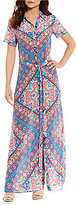 Tolani Amanda Short Sleeve Printed Maxi Dress