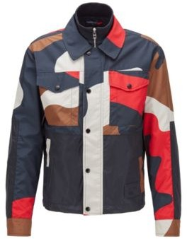 HUGO BOSS Regular Fit Camouflage Jacket With Double Collar - Red