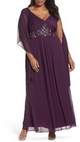 Alex Evenings Plus Size Women's Embellished A-Line Gown With Shawl
