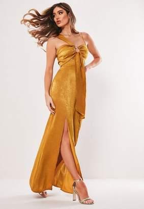 Missguided Satin One Shoulder Ring Split Maxi Dress