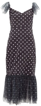 STAUD Tulle-trim Polka-dot Cotton-blend Midi Dress - Black White