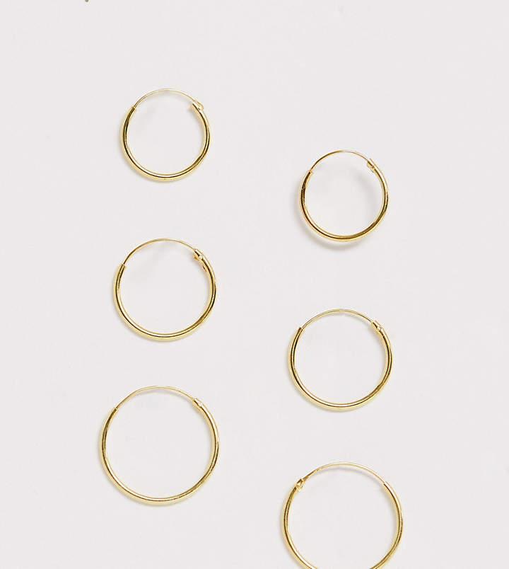 Asos Pack Of 3 Gold Plated Sterling Silver Hoop Earrings