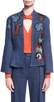 Josie Natori Embroidered Denim Twill Jacket