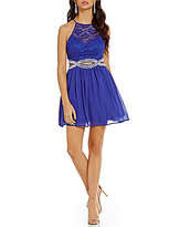 B. Darlin Foil Lace Bodice Cut Out Waist Dress
