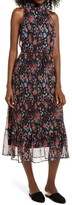 Sam Edelman Floral Plissé Midi Dress