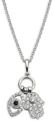 Effy 14K White Gold Diamond & Sapphire Evil Eye & Hamsa Charm Necklace