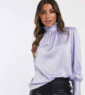 UNIQUE21 pussy bow blouse with deep cuffs in satin-Purple