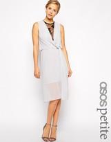 Asos Drape Midi Dress With Lace Insert