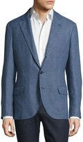 Brunello Cucinelli Traditional Hopsack Deconstructed Jacket, Light Blue