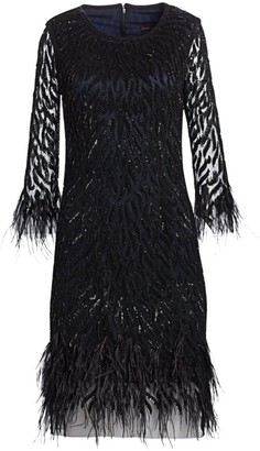 Sequin Feathered Cocktail Dress