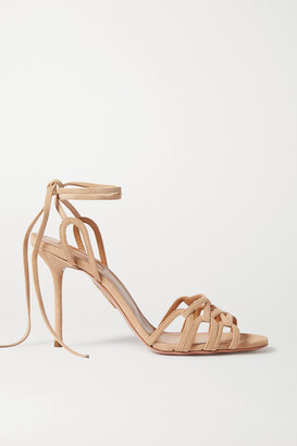 Aquazzura Azur 95 Suede Sandals - Neutral