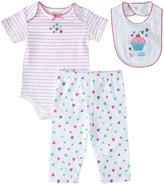 Absorba Cupcake Hearts Pants Set w/Bib (Baby) - Multi-0-3 Months