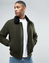 Asos Wool Mix Bomber Jacket With Fleece Collar In Khaki