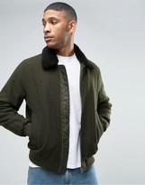 Asos Wool Mix Bomber Jacket With Fleece Collar In Khaki