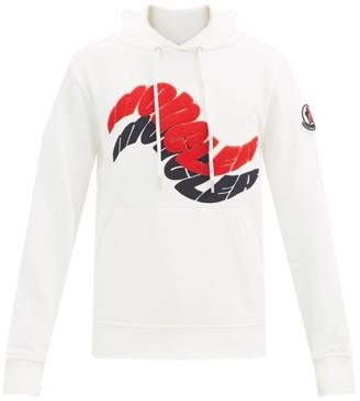 Moncler Logo-applique Cotton-jersey Hooded Sweatshirt - White