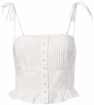 ASTR the Label Women's Sleeveless Button Front Ruffle Hem Maiken Top