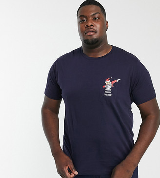 Brave Soul Plus dabbing santa pocket detail t-shirt-Navy