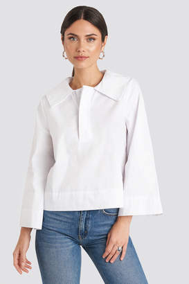 NA-KD Wide Collar Cotton Shirt White