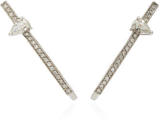 Jack Vartanian White Gold And Diamonds Line Earrings
