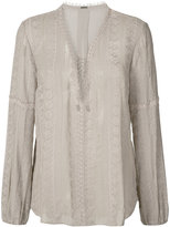 Elie Tahari sheer long sleeve blouse