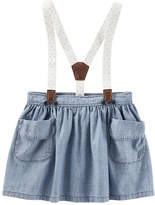 Osh Kosh Oshkosh Hibiscus Wash Suspender Denim Skirt - Baby Girls