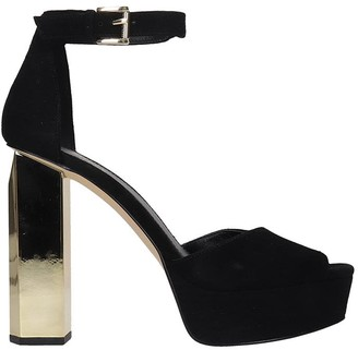 Michael Kors Petra Platform Sandals In Black Suede