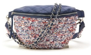 Like Dreams Distorted Print Weave Fannypack with Chain Embellishments