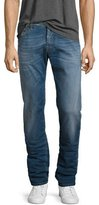 Jacob Cohen Medium-Wash Straight-Leg Jeans with Camouflage Stitching, Blue