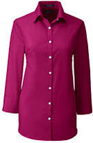 Lands' End Women's Petite 3/4 Sleeve Broadcloth Shirt-Crimson Currant