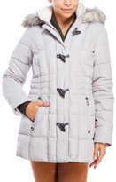 Laundry by Design Faux Fur Trim Quilted Toggle Coat