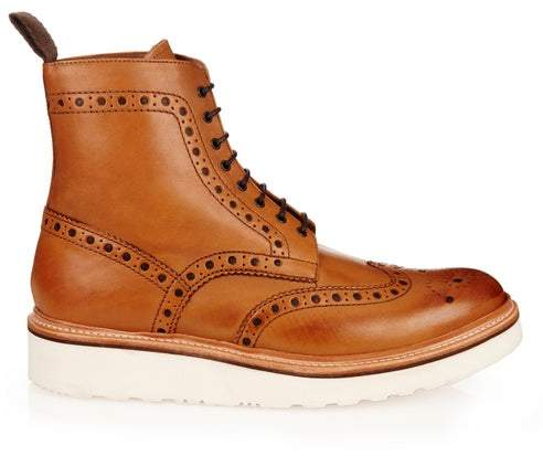 Grenson Fred Leather Brogue Boots - Mens - Tan