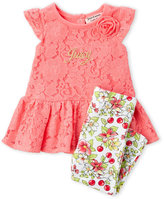 juicy couture (Newborn/Infant Girls) Two-Piece Coral Lace Peplum Top & Floral Leggings Set