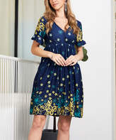 Reborn Collection Women's Casual Dresses Navy - Navy & Yellow Floral Ruffle-Sleeve Dress - Women & Plus