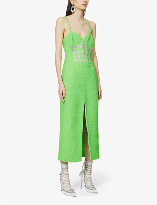 David Koma Beaded wool-blend midi dress