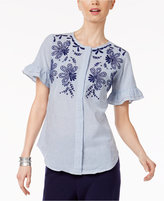 NY Collection Cotton Embroidered Blouse