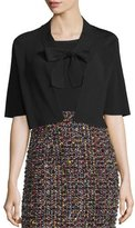 Escada Self-Tie Half-Sleeve Cardigan, Black