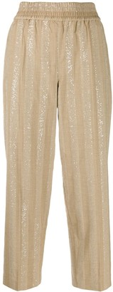 Brunello Cucinelli Striped Sequined Cropped Trousers