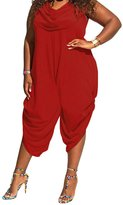 LikeYOU Sexy Cowl Neck Plus Size Loose Fitted Harem Jumpsuit(,2XL)