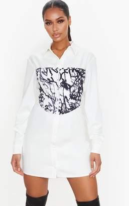 PrettyLittleThing White Graffiti Print Hook & Eye Corset Bust Shirt Dress