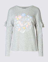 M&S Collection Cotton Rich Floral Print Frill Sleeve T-Shirt